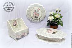 """Купить Комплект """"Love Story"""" - белый, набор, комплект аксессуаров, Декупаж, английская роза, вуаль"""