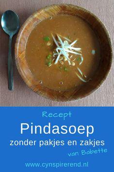 """Vandaag deelt Babette haar simpele recept voor Pindasoep Zonder Pakjes en Zakjes. """"Dit recept heb ik zelf versimpeld en is nu de favoriet van mijn man en mij!"""" Lees het recept op www.cynspirerend.nl Cantaloupe, Fruit, Blog, Blogging"""