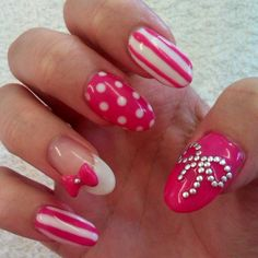 nail-art-designs-pink-and-white-color-zebra-acrylic-nail-designs-2013 ... #prom