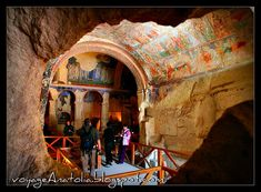 Cappadocia is a wonder of the world... Hotels, churches, houses carved inside strange geological mountains. Check with archaeologous.com for arrangements.--(photo -Cave Church of Cappadocia)