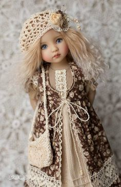 Little Darling set Outfit for doll Dress with lace Boho dress Dianna Effner Dress for doll Clothes for dolls Baby Girl Dress Patterns, Doll Dress Patterns, Pretty Dolls, Beautiful Dolls, Kids Dress Wear, Girl Doll Clothes, Girl Dolls, Handmade Dresses, Fabric Dolls
