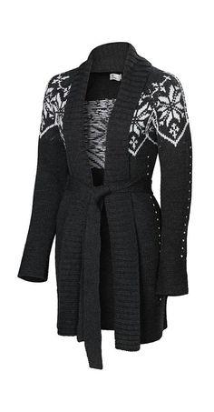 Charcoal Snowflake Connie Silk-Merino Blend Wrap Cardigan