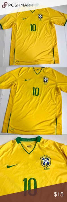 """Nike Yellow Brasil jersey shirt sz XL Pit to pit:24"""" Length:32"""" Waist:46"""" Does show signs of wear on team number and minor discoloration  No snags Nike Shirts"""