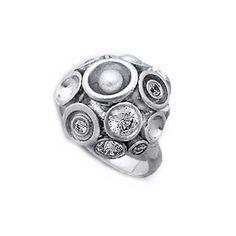 Inel din argint cu perle si cristale - handmade, Israel.