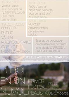 #PUBOLENUNNUVOL #PUBOL #FESTIVAL #CROWDFUNDING - Púbol en un núvol consisteix en un maridatge de música i gastronomia al poble de Púbol (Baix Empordà) el 2 d'agost. +INFO http://www.pubolenunnuvol.cat crowdfunding verkami http://www.verkami.com/projects/9231-pubol-en-un-nuvol-primer-festival-realista