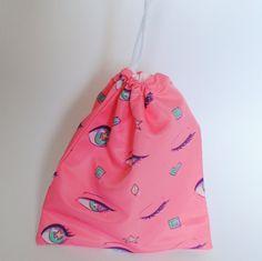 Drawstring Pouch / Drawstring Bag / Pink by SyppahsCuteCreations