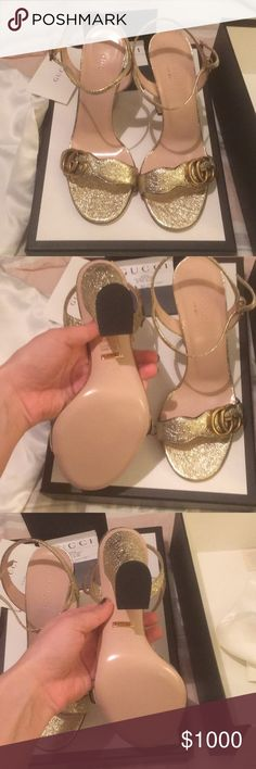 Gucci marmont heels NIB never worn. Stunning on These are the higher heel style NOT mid heel style. Gorgeous pale gold color that really sparkles. These come with box, receipt, gucci card and 2silk dust bags. Sold out online in this size! I would also be willing to trade someome in this exact style and condition for white pair. Gucci Shoes Heels