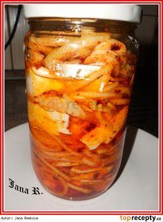 Tvarůžky s Hermelínem v oleji Korn, Carrots, Mason Jars, Food And Drink, Pizza, Homemade, Canning, Vegetables, Milk Products
