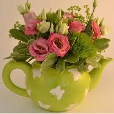teapot flowers arrangement wedding