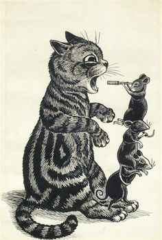 OPEN WIDE By Louis Wain Medium: pen and ink