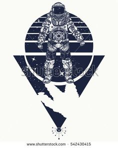 Astronaut in space, tattoo. Cosmonaut in deep space triangular style t-shirt design. Spaceman tattoo art. #astonaut #cosmonaut