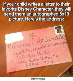 If your child writes a letter to their favorite Disney character, the character will reply with an autographed photo of themselves! The address is Walt Disney World Communications, P. Disney Fun, Disney Trips, Walt Disney, Disney Facts, Diy Disney Gifts, Disney Moms, Disneyland Hacks, Disneyland Secrets, Punk Disney