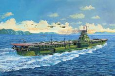 "The giant IJN Shinano, third ""Yamato"" reconverted aircraft carrier, 65,000 t a walk of 27 knots, up to 70 aircraft and another 30-40 in reserve. Had an armor belt of 250 mm, a flight deck 75 and a main of 100, with an abundant armament 16 pieces of 127 mm and 145 mm 25. The rush is not good counselors and the ship was commissioned without having all boilers, bilge pumps and watertight bulkheads, starting his first and last mission with about a thousand naval operators on board. - BFD"