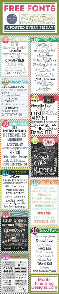 new free fonts, updated EVERY Friday | wedding, school, inline, webdings, typewriter, chalkboard, striped, illustrated fonts | free font friday | www.moritzfineblogdesigns.com