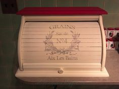 Vintage pine wood bread box, painted in white and red chalk paint with French typography transfer from the Graphics Fairy.