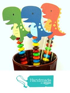 DINOSAUR party favor decorations - birthday decorations - party favors - candy sticks - set of 12 - KriskropMemories from KriskropMemories http://www.amazon.com/dp/B016FZU4AE/ref=hnd_sw_r_pi_dp_u-y.wb0S9YP9S #handmadeatamazon