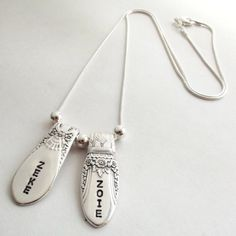 Personalized 2 Spoon Ends Mothers Silverware Necklace- Awesome Mothers Day present for mom or grandma!