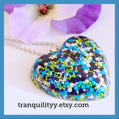 Sprinkle Heart Necklace Super Galaxy Sweet Sprinkle Resin  Flat Heart Jumbo Necklace  , Kawaii, Hipster, Scene By: Tranquilityy by tranquilityy on Etsy