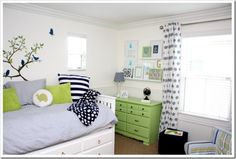 Blue Green Boys Room. Apple green dreser