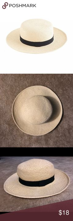 J. Crew Straw Boater Hat Pre-owned.  Straw boater hat with black grosgrain ribbon detail. In good condition, used only on vacations. No stains. There are two small safety pin holes on the inside ribbon (I pinned a strap for windy days). Otherwise a great straw hat! J. Crew Accessories Hats
