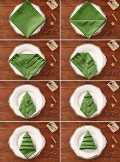 Master Bedroom Decorating Concepts - DIY Crown Molding Set Up Christmas Tree Napkins: Turn A Green Napkin Into A Lovely Christmas Craft With This Linen-Folding How-To. Christmas Tree Napkins, Christmas Crafts, Christmas Christmas, Christmas Recipes, Christmas Ornaments, Halloween Crafts, Ostern Party, Diy Christmas Decorations Easy, House Decorations