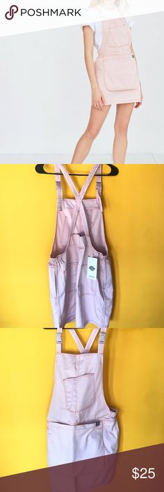 NWT Urban Outfitters X Dickies Pink Mini Dress Baby Pink, Polyester overall mini skirt/dress. Never worn, NWT. It is a size Large, but it was to too small for me. It is backless, has snaps, and has 4 pockets. Its super cute, I really wish I could have worn it! Urban Outfitters Dresses Mini