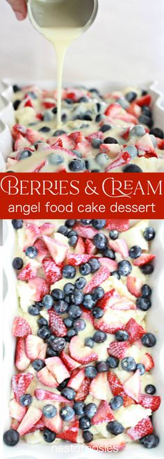 Berries and Cream Angel Food Cake Dessert is simply delicious! Top with whip cream, vanilla Greek yogurt or eat as is. The perfect Spring and Summer dessert Angel Food Cake Desserts, Angle Food Cake Recipes, Cake Mix Recipes, Food Cakes, Best Dessert Recipes, Sweet Recipes, Cupcake Cakes, Angel Food Cake Mix, Baking Cupcakes