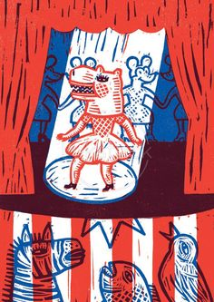 Theatre ~ Isabelle Vandenabeele is a Belgian illustrator who likes to work with traditional printing techniques like woodcut or linocut.