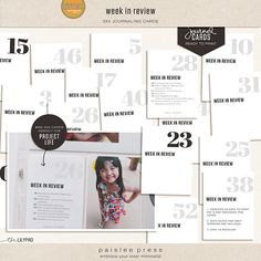 week in review cards to use for my 2014 album #projectlife #scrapbooking #bigcityquiet