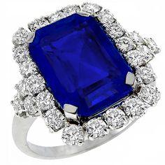 Estate 8.43 emerald cut natural Ceylon sapphire & 1.30ct diamond ring.
