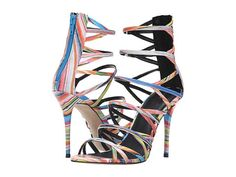 ALDO - Bonabella. Add pizzazz to your ensemble with these intriguing Bonabella heels! This brand is a member of the Sustainable Apparel Coalition. Multi-colored polyurethane upper. Back zip closure. Caged open toe silhouette. Man-made lining and padded insole. Wrapped stiletto heel. Man-made sole. Imported. Measurements: Heel Height: 4 in Weight: 8 oz Product measurements were taken using size 38.5 (US Women's 8), width B - Medium. Please note that measurements...