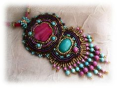 Let's go to India  bead embroidered necklace  OOAK by budaikata