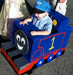 Hayden's first wheelchair costume at 2 years old.  He loved Thomas the Train and loved eating his candy on the top as we trick or treated.