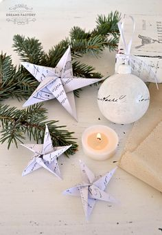 diy-french-paper-stars-Maybe a couple of garlands with these--on ribbons or twine