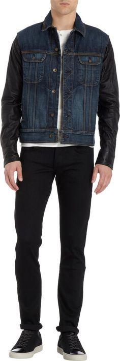 $595, Rag and Bone Rag Bone Denim Jacket Clean Sheffield. Sold by Barneys Warehouse. Click for more info: https://lookastic.com/men/shop_items/22079/redirect