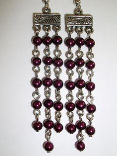 burgundy chandelier earrings by mwadsworth on Etsy, $5.00