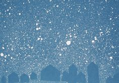 negative space houses with splatter paint snow