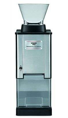 Waring Pro Professional Stainless Steel Large-Capacity Ice Crusher - The Waring Pro Professional Ice Crusher has a brushed stainiless steel housing, large and convenient ice chute, stainless steel blades and commercial mechanism. It crushes 30 l Snow Cones, Bar Tools, Small Appliances, Kitchen Appliances, Cool Kitchens, Crushes, Container, Stainless Steel, Canning
