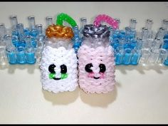 RAINBOW LOOM 3D MILK BOTTLE by Laudriane_ lauzland. Not by feelinspiffy. Really cute. Definitely can be added to any happy food collection.