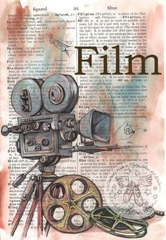 Film (Movie) Mixed Media Drawing on Distressed, Dictionary Page - flying shoes a. - Film (Movie) Mixed Media Drawing on Distressed, Dictionary Page – flying shoes art studio - Photo Vintage, Vintage Diy, Vintage Tags, Book Page Art, Book Pages, Altered Books, Altered Art, Kamera Tattoos, Camera Drawing