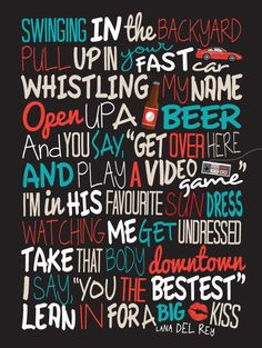 Lana Del Rey - Video Games / Song Lyric Typography Poster by CreativePrint on Etsy