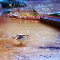 Win this awesome handmade ring! Jewelry giveaway! Geometry, Giveaway, Sterling Silver, Awesome, Rings, Handmade, Jewelry, Hand Made, Jewlery