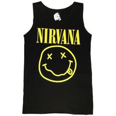 Black Nirvana Smiley T shirt Womenas Rock Band Funny Tank Top Singlets ($20) ❤ liked on Polyvore