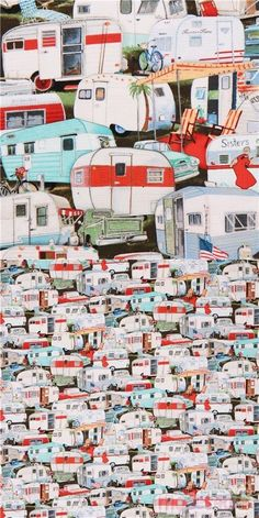 retro fabric by Page Bridges with packed colorful trailers and campers, by Elizabeth's Studio, collection: Vintage Trailers, Design: Page Bridges #Cotton #Transport