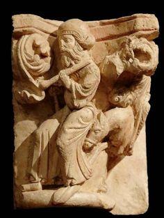 San José, Huida a Egipto - Capitel de Santa María la Real de Aguilar de Campoo