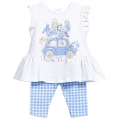 Mayoral Baby Girls Blue 2 Piece Tunic Top & Leggings Set at Childrensalon.com
