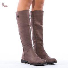 6b19a3f61c64f Ideal Shoes - Bottes effet daim Aloana Rouge 41  Amazon.fr  Chaussures et  Sacs