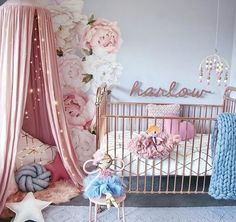 Nursery Ideas Baby Girl blush pink and grey nursery. Love the giant peony wall decals from www.rockymountaindecals.ca