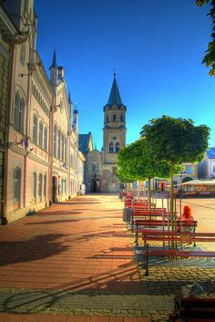 Market Square in Sanok, Poland