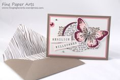 Stampin' up! Karte Herzlich Willkommen, Card welcome, Watercolor Wings, Butterfly, Schmetterling - Fine Paper Arts